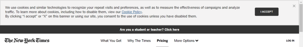 Example of implied consent -  New York Times - of a good cookie consent